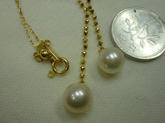 K18,本真珠つき、ネックレス【中古】