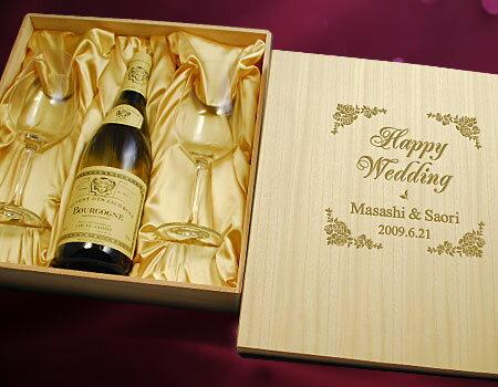 [2]【木箱に焼印+グラス名入れ】 ルイ・ジャド シャブリ セリエ・ド・ラ・サブリエール&リーデルペアグラスセット | 750 名入れ リーデル ワイン 焼印木箱 プレゼント 名前入り ギフト 酒 お祝い 誕生日 結婚祝い セット 記念品 贈答 名入れ酒 記念日 グラス 神の雫