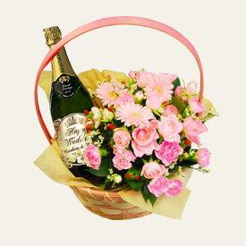 【 花かご セット 】 ボーモン・デ・クレイエール グランド・レゼルヴ・ブリュット 750mL | 名入れ ワイン 花 オリジナル プレゼント 名前入り ギフト 酒 お祝い 誕生日お酒 結婚祝い 還暦祝い 記念 古希祝 お礼 敬老の日 引き出物