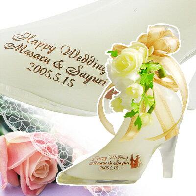 【 名入れ プリザーブド フラワー付 】 シンデレラ シュー ホワイト メロンウォッカ 350ml | ガラスの靴 リキュール 大人 かわいい おしゃれ お酒 プレゼント ギフト 名前入り バラ 造花 贈り物 お祝い 女友達 女性 誕生日 結婚祝い 記念品 記念日 ウエディング ラッピング