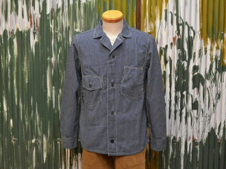 "Freewheelers work jacket ""GREASEBALL"" striped chambray Indigo / Navy"