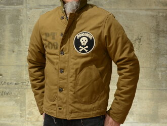 "Freewheelers deck jacket ""1940 s USN BUCCANEER"" dry finish duck red / beige"