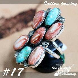 インディアンジュエリー リング #17 シルバー ターコイズ スパイニーオイスターシェル Indian jewelry - Ring - Spiny Oyster Shell メンズ レディース プレゼント おすすめ