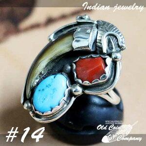 インディアンジュエリー リング #14 シルバー ターコイズ コーラル コヨーテクロウ Indian jewelry - Ring - Kingman Mt and Coyote Crow メンズ レディース ギフト プレゼント おすすめ
