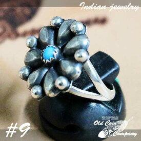 インディアンジュエリー リング #9 シルバー ターコイズ Indian jewelry - Ring - Sleeping Beauty スリーピングビューティー 鉱山 メンズ レディース ギフト プレゼント おすすめ
