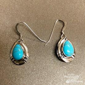 インディアンジュエリー ナバホ族 ティアドロップ ピアス シルバー ターコイズ Indian jewelry - pierce earring - スリーピングビューティー 鉱山 メンズ レディース ギフト プレゼント おすすめ