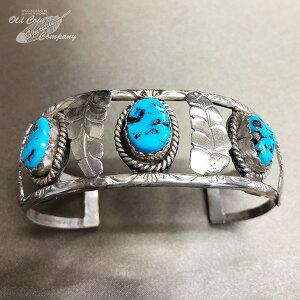 インディアンジュエリー バングル ナバホ ターコイズ ブレスレット 1970年代オールド シルバー Indian jewelry - bracelet - キングマン 鉱山 3石 メンズ レディース ギフト プレゼント おすすめ