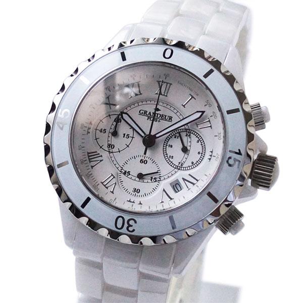 [グランドールプラス]GRANDEUR PLUS+ フルセラミッククロノグラフ メンズ腕時計 GRP008W1 ホワイト