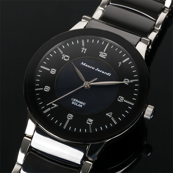 Mauro Jerardi マウロジェラルディ ソーラー メンズ腕時計 ブラック MJ043-2