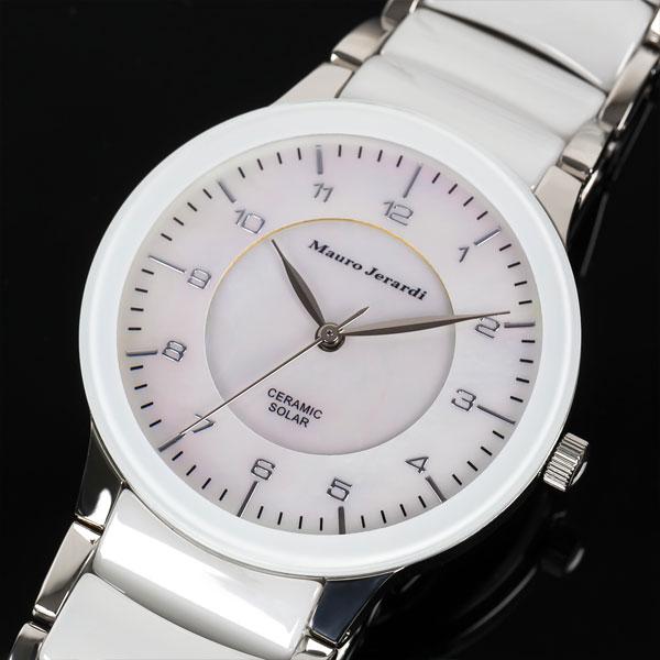 Mauro Jerardi マウロジェラルディ ソーラー メンズ腕時計 ホワイトシェル MJ043-3