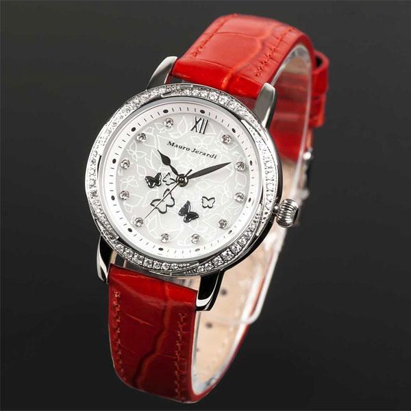 Mauro Jerardi マウロジェラルディ ソーラー レディース腕時計 バンドカラー:レッド MJ046-3