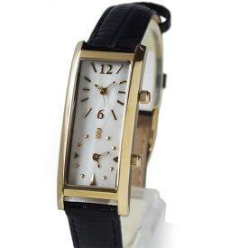 [グランドール]GRANDEUR レディースデュアルタイム腕時計 限定クロコ調型押し牛革ベルト ダブルフェイス GSX048W8 / ベルトカラー:ブラック