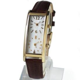 [グランドール]GRANDEUR レディースデュアルタイム腕時計 限定クロコ調型押し牛革ベルトダブルフェイス GSX048W9 / ベルトカラー:ブラウン