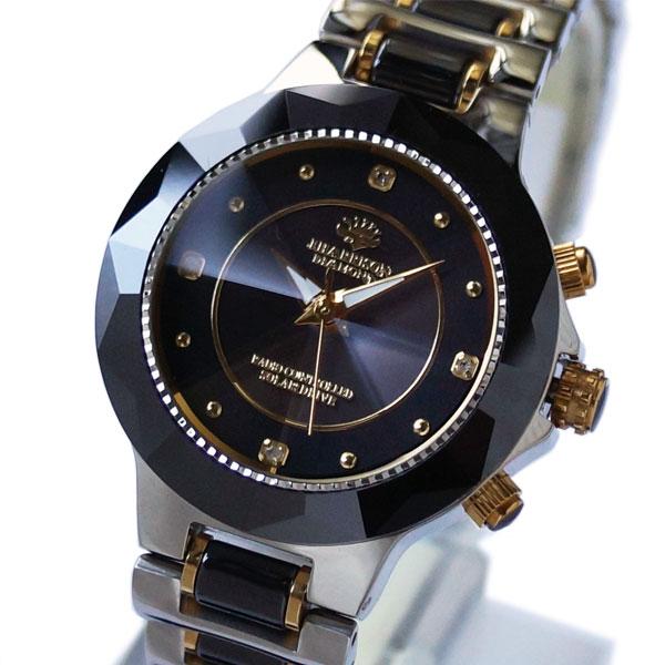 [ジョン・ハリソン]John Harrison セラミックダイヤソーラー電波レディース腕時計 J.H-024LBB