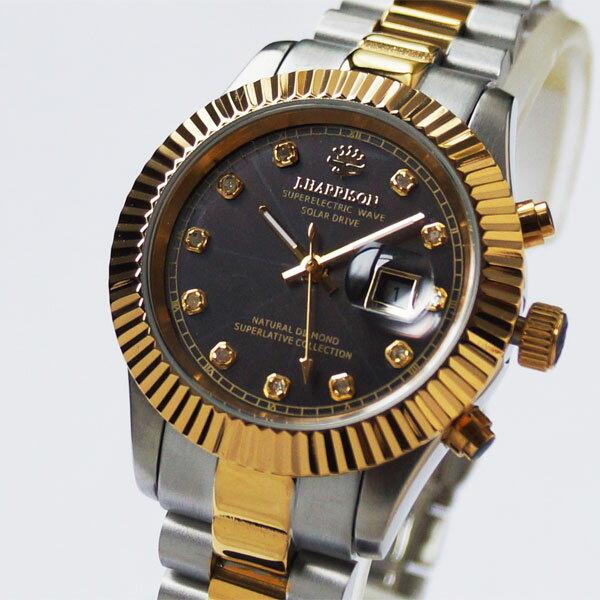 [ジョン・ハリソン]John Harrison 11石天然ダイヤモンド付ソーラー電波レディース腕時計 J.H-026LGB