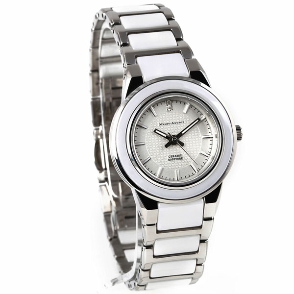 Mauro Jerardi マウロジェラルディ 2P天然ダイヤモンド セラミック レディース腕時計 ホワイト/シルバー MJ031-3