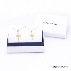 close to me/クローストゥーミー ペアネックレス ペンダント クロス K23RGP シンプル アンティーク クリスマス SN13-225-226 【送料無料】