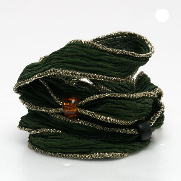 M's collection/エムズコレクション 4ビーズつきシルクリボン/フォレストグリーン(ゴールド) M0510forest-green-gold【ギフトOK】【smtb-k】【楽ギフ_包装】
