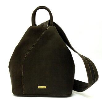 VISCONTI/Visconti本皮革/女士油皮革一挎包/帆布背包/油棕色Monica 18064obr