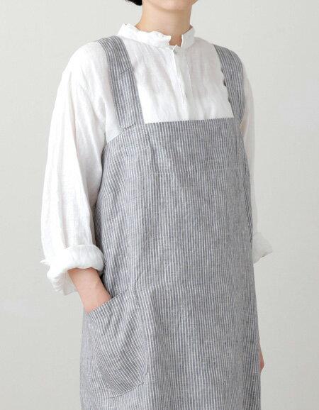 fog linen work (フォグリネンワーク)リネンスクエアクロスエプロン グレー×ホワイトストライプ【あす楽】