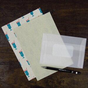 水縞おやつ包み紙レターセット