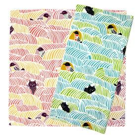 【対象商品2点以上でメール便送料無料】KATAKATA(カタカタ) 風呂敷 こはれ ねこととり 70cm【猫グッズ 柄 雑貨 プレゼント おしゃれ 日用品 かわいい 猫 グッズ ねこグッズ 猫雑貨 オフィス】【むす美 山田繊維 musubi エコバッグ】