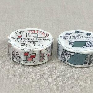 倉敷意匠計画室 トラネコボンボン マスキングテープ 18mm(記憶のモンプチ)1巻パック