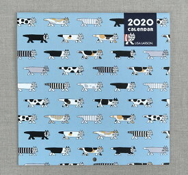 リサラーソン 2020 デザインコレクション 壁掛けカレンダー Lisa Larson【日曜始まり 猫 ハリネズミ 北欧雑貨 グッズ】