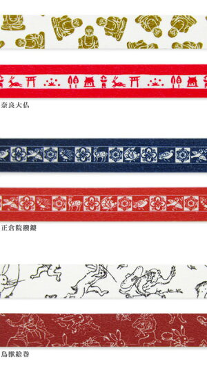 中川政七商店マスキングテープ2巻セット(奈良大仏、正倉院撥鏤、鳥獣絵巻)