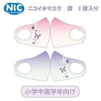 NICニコイチ・ペアキッズマスク【2】2枚入り蝶(滝)3層除菌フィルター付き和柄洗えるマスク
