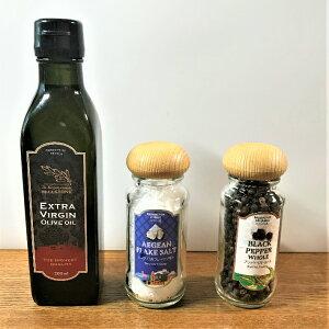 【送料無料】品質国際基準(IOC)クリアギリシャ産エクストラバージンオリーブオイル こだわりの塩・コショウ セット商品 最高級