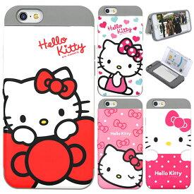 [Hello Kitty Card Double Bumper ハローキティ カード 二重 バンパーケース] スマホケース iPhone8 iPhone7 iPhone6s iPhone6 iPhone 6 6s 7 8 Plus iphone6plus iphone6splus iphone7plus iphone8plus アイフォン アイホン プラス 衝撃吸収!カード収納機能!【】