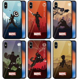 [MARVEL Heroic Silhouette Glass マーベル ヒーローズ シルエット ガラスケース] スマホケース iPhoneXR iPhone10r iPhoneXsMax iPhone10sMax iPhoneXS iPhone10s iPhoneX iPhone10 iPhone8 iPhone7 iphone7plus iphone8plus アイフォン アイホン プラス 強化ガラス【】