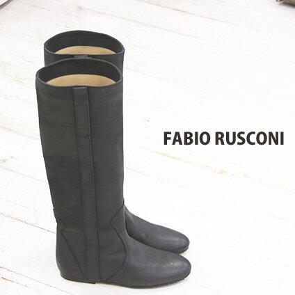 ◇人気のビンテージ仕上げ◇ FABIO RUSCONI boots 98801 ファビオルスコーニ ロングブーツ ブラック 【 ファビオ ルスコーニ イタリア製 ブーツ 】