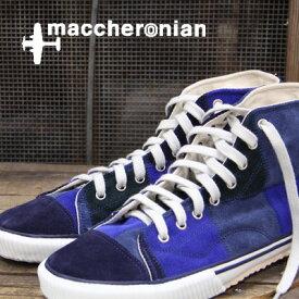 【あす楽】【 セール sale 】 maccheronian 靴 2208 PT PATCH WORK BLUE mix マカロニアン スニーカー sneaker ブルー ミックス メンズ レディース