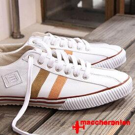 【あす楽】 【 期間限定特別価格 】 maccheronian 靴 WHITE/ORANGE/BEIGE マカロニアン 2215 スニーカー メンズ レディース sneaker レザー