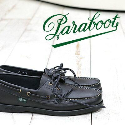 4/18再入荷 【 ポイント10倍 】 【 日本正規取扱店 】 Paraboot BARTH NOIRE LIS NOIR ブラック 黒 パラブーツ バース デッキシューズ shoes レザー メンズ
