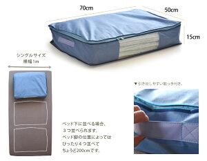 保管中のお布団をダニ・ホコリ・花粉・水から守りますダニ通過率0%大事な寝具はこの中にベッド下、クローゼットなどのすきまを有効利用した賢い収納ベッド下用収納袋毛布、タオルケットなどが2〜4枚入ります引き出しやすいとって付き