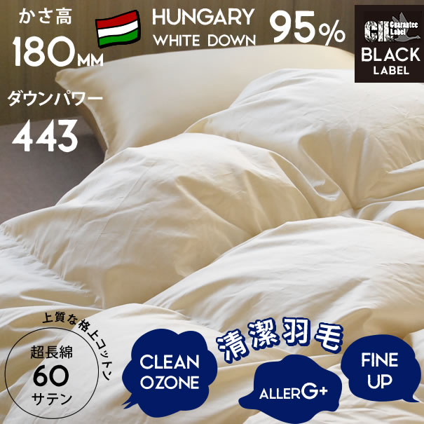 きなり羽毛布団 クイーン ハンガリー産ホワイトダウン95% ダウンパワー443 かさ高180mm以上 CILブラックラベル プレミアムゴールド 相当 抗菌防臭 超長綿100% 60サテン 立体キルト 抗菌防臭 プレミアムダウン