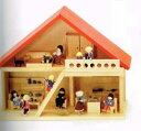 赤い屋根の人形の家(家のみはしご付き)組立て式