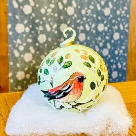 【オーストリア製】手作りガラス玉オーナメント(小鳥) 8cm クリスマスツリーオーナメント PETER PRIEES