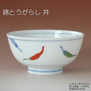 赤と緑のとうがらし柄軽量丼和器食器美濃焼日本製あす楽