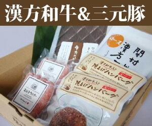 国産漢方和牛・漢方三元豚バラエティーセット(全4品)【ハンバーグ】【ウインナー】【タレ漬け】【ギフト】