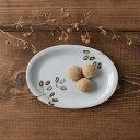 九谷青窯 鉄絵枝葉 楕円平皿