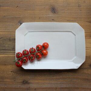 九谷青窯 白磁 八角長皿(大)| 九谷焼 青窯 隅切り長皿 せいよう 白い器 パスタ 大皿 大きい皿 パーティー 大皿 刺身 盛り合わせ ワンプレート ランチ そうめん