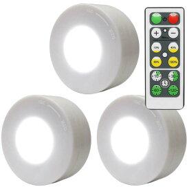 3個セット リモコン付き LED プッシュライト 調光 タイマー機能 高輝度 両面テープ 電池式 夜間照明 クローゼット タンス PR-QAQ9789