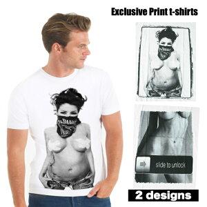 【送料無料】Exclusive プリントTシャツ ホワイト メンズ セクシーガール バンダナ 覆面 おっぱい 巨乳 スマホ おもしろデザイン ジョーク おしゃれ スケーター ストリート系 M/L/XLサイズ 半袖
