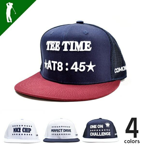 SALE ゴルフ 帽子 キャップ メンズ おしゃれ ゴルフ用品 スポーツ用品 メンズ グッズ 小物 オールシーズン メンズサイズアジャスター付COMON GOLFまっすぐバイザーハーフメッシュベースボールタイプキャップ(CG-CP8158A)