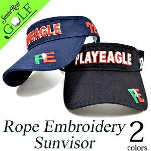 ゴルフ サンバイザー 帽子 メンズ オールシーズン コットン ブラック/ネイビー フリーサイズPLAYEAGLEロープ刺繍サンバイザー(IF-GF0036)