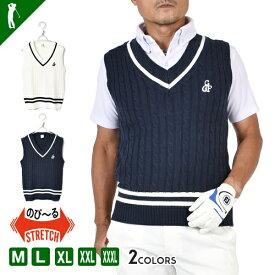 ゴルフウェア メンズ ベスト 春 秋 チルデン Vネック シンプル トップス カレッジ コモンゴルフ COMONGOLF スポーツウェア 大人 M L XL XXL XXXL おしゃれ スポーツ ゴルフVネックチルデンゴルフベスト(CG-BS546)